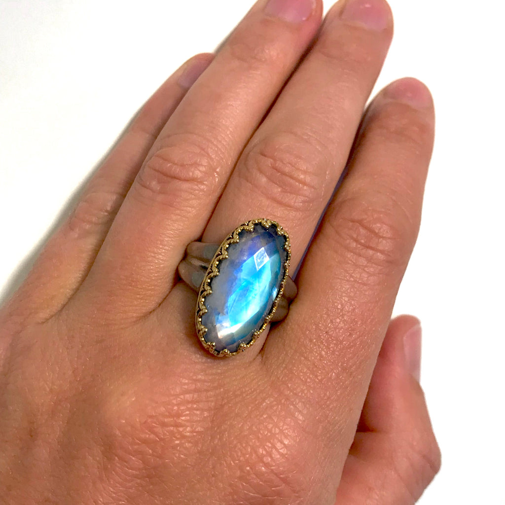Faceted oval moonstone ring
