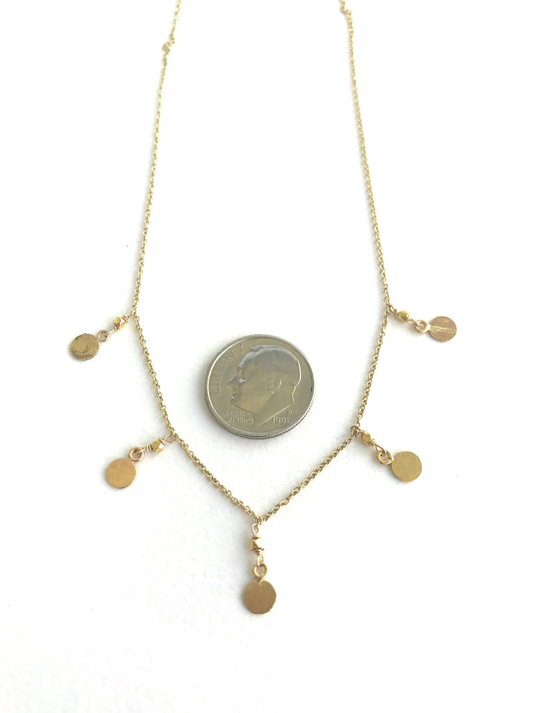 Textured 5 Coin Gold Necklace
