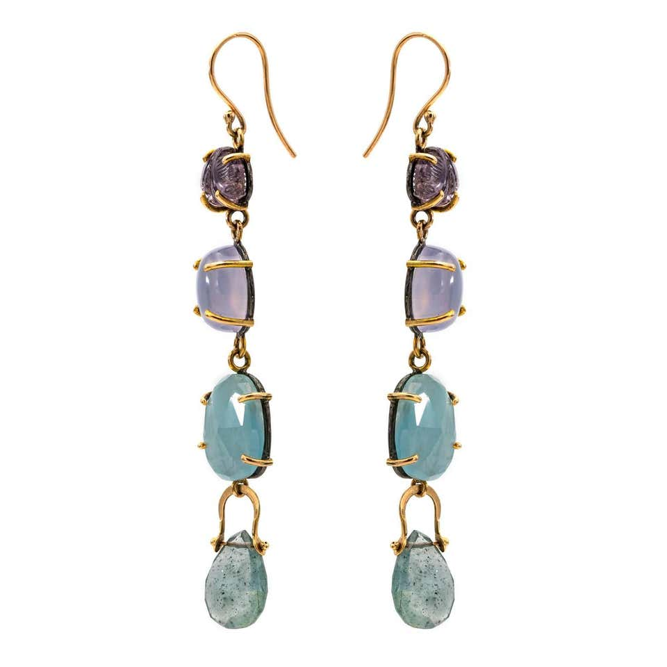 Drop Earrings with Carved Tourmaline and a Rainbow of Color
