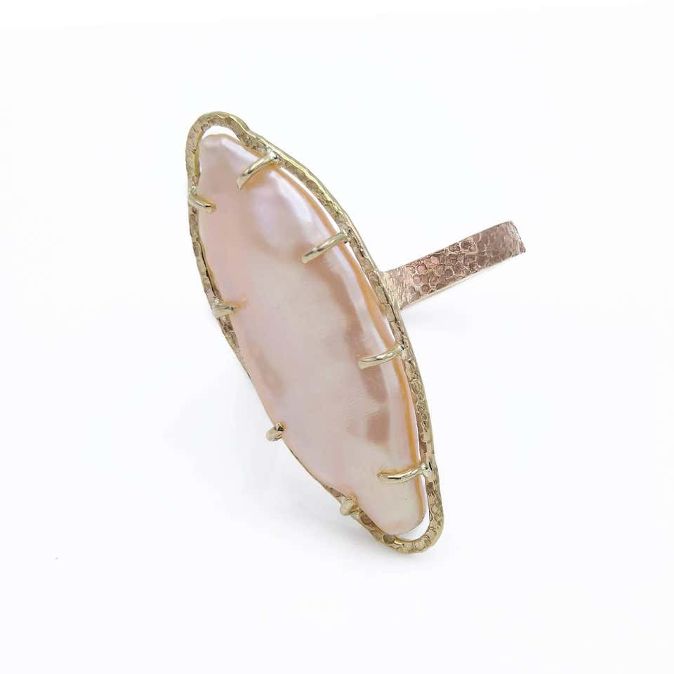 Peach Freshwater Pearl Two Color Gold Ring