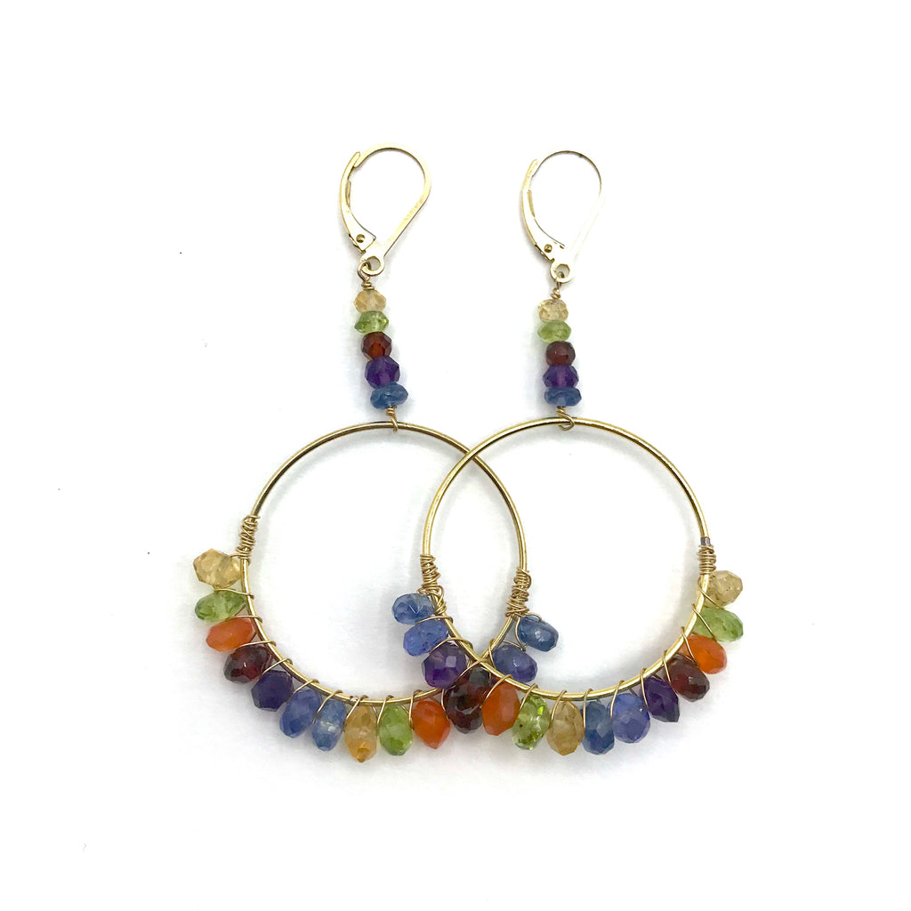 Rainbow Hoop Earrings with Semi-Precious Stones