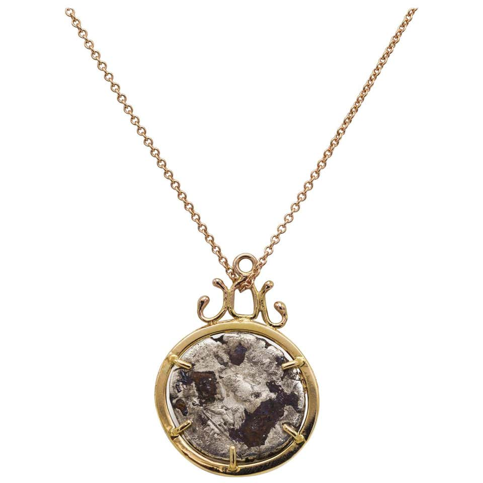 Bronze Roman Coin Set in 14 Karat Gold Pendant