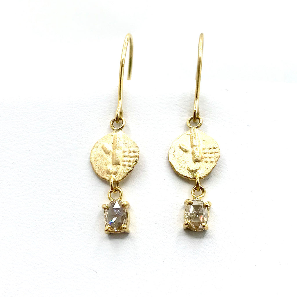 Diamond and Coin Gold Earrings