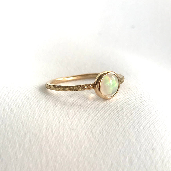 Round Opal and 14K Yellow Gold Ring
