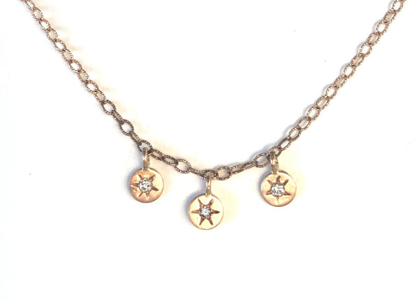 14 Karat Triple Rose Gold disks with  Stars Diamond Necklace.