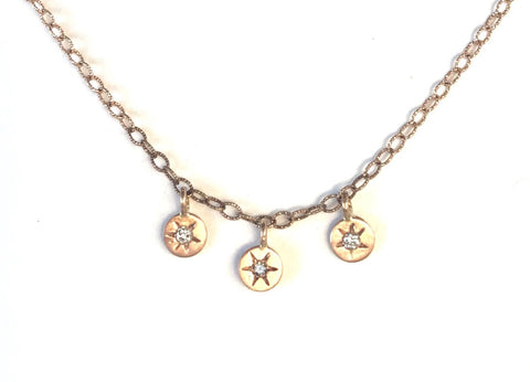 3 Rose Gold Coins with Diamonds and Stars Necklace