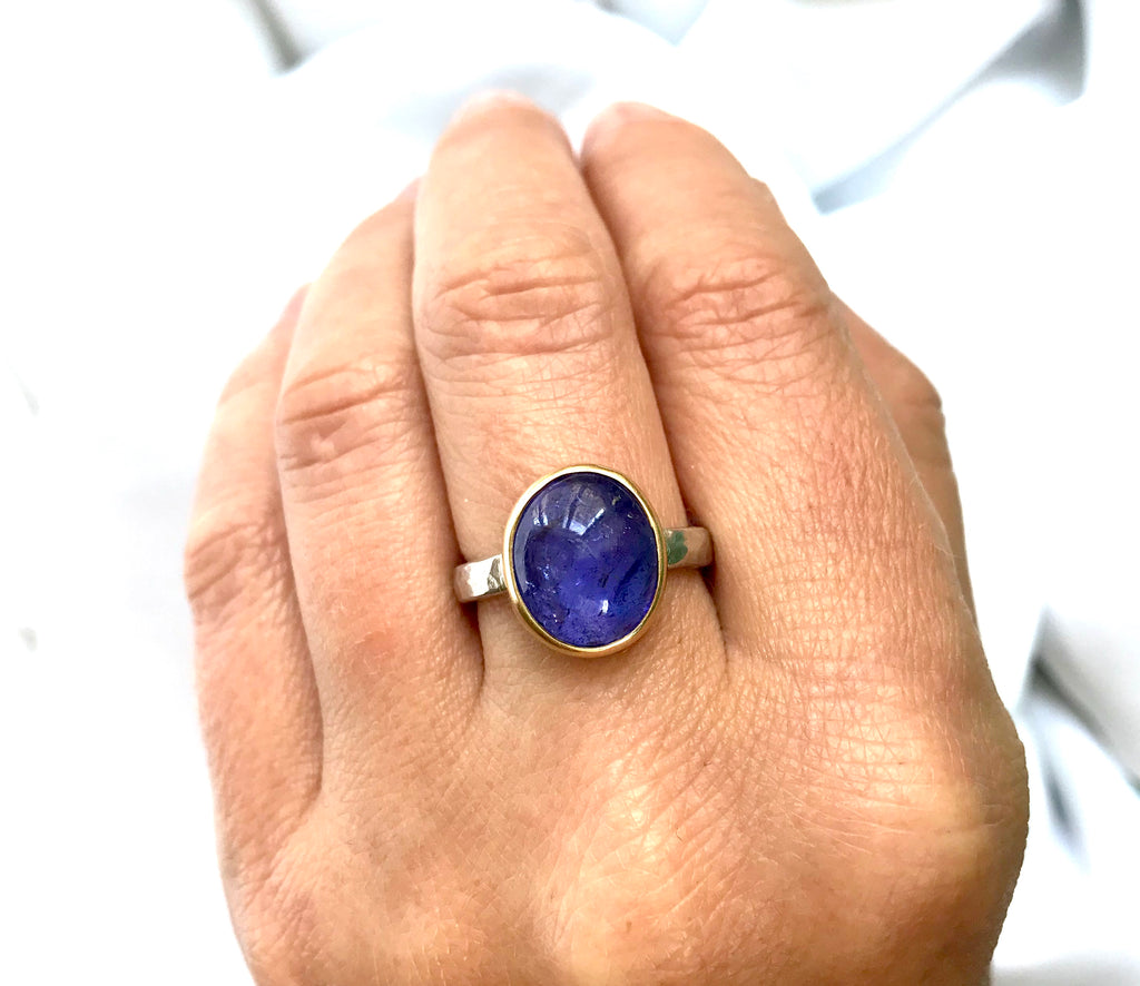 Large Oval Tanzanite Ring in 14K Yellow Gold and Sterling Silver