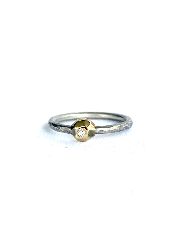 Diamond Ring W/ Geometric Gold Bezel and Silver Band