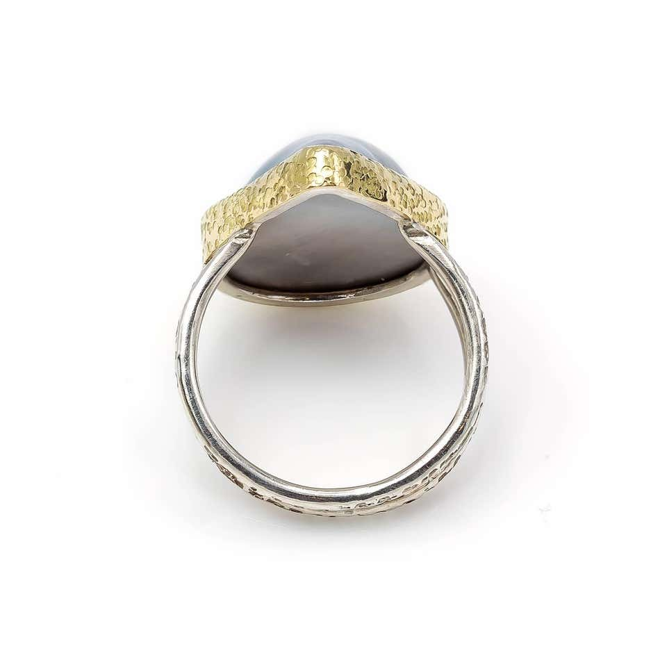 Black Mabe Peal Ring Tear Shaped in Gold and Sterling Silver