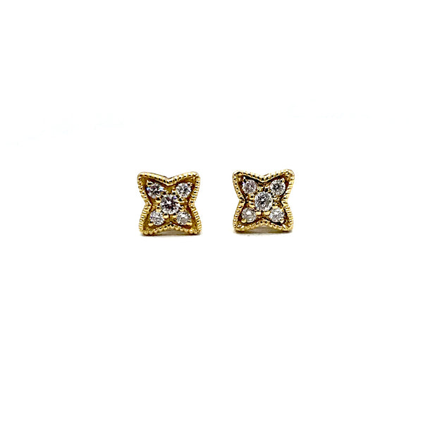 Gold Stud Diamond Star Earrings