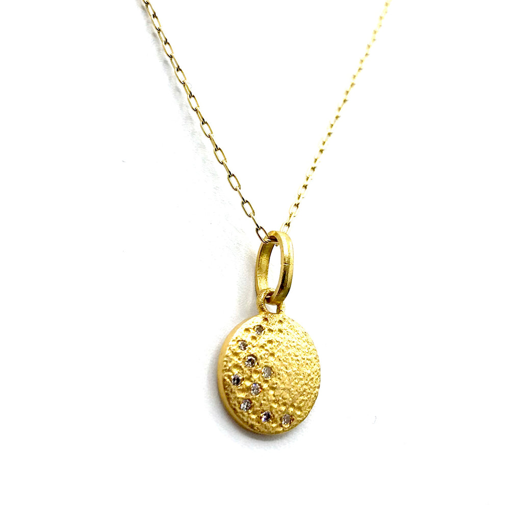 Gold Textured Diamond Pave Crescent Moon Pendant