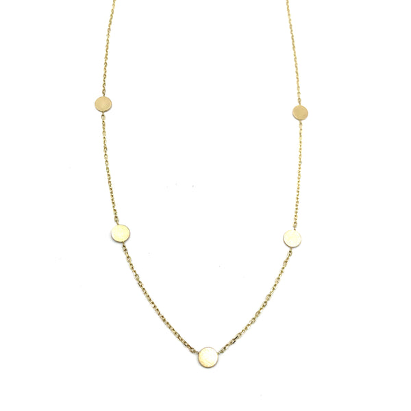 14K Yellow Gold 5 Disc Necklace