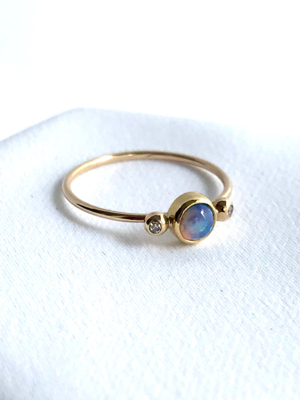 Round Australian Opal & Diamond Ring