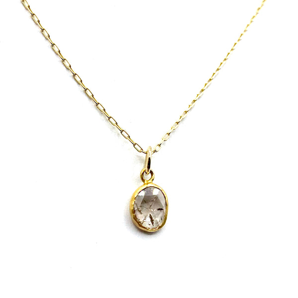 Rose cut champagne diamond pendant