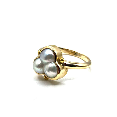 Three pearl 14k gold ring