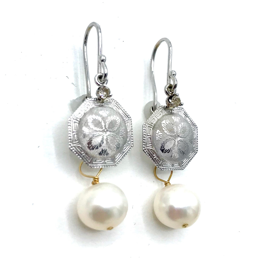 Engraved Whtie Gold and Pearl Earrings w/ Diamonds