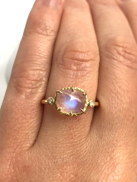 Large Rosecut Moonstone Ring with Diamonds