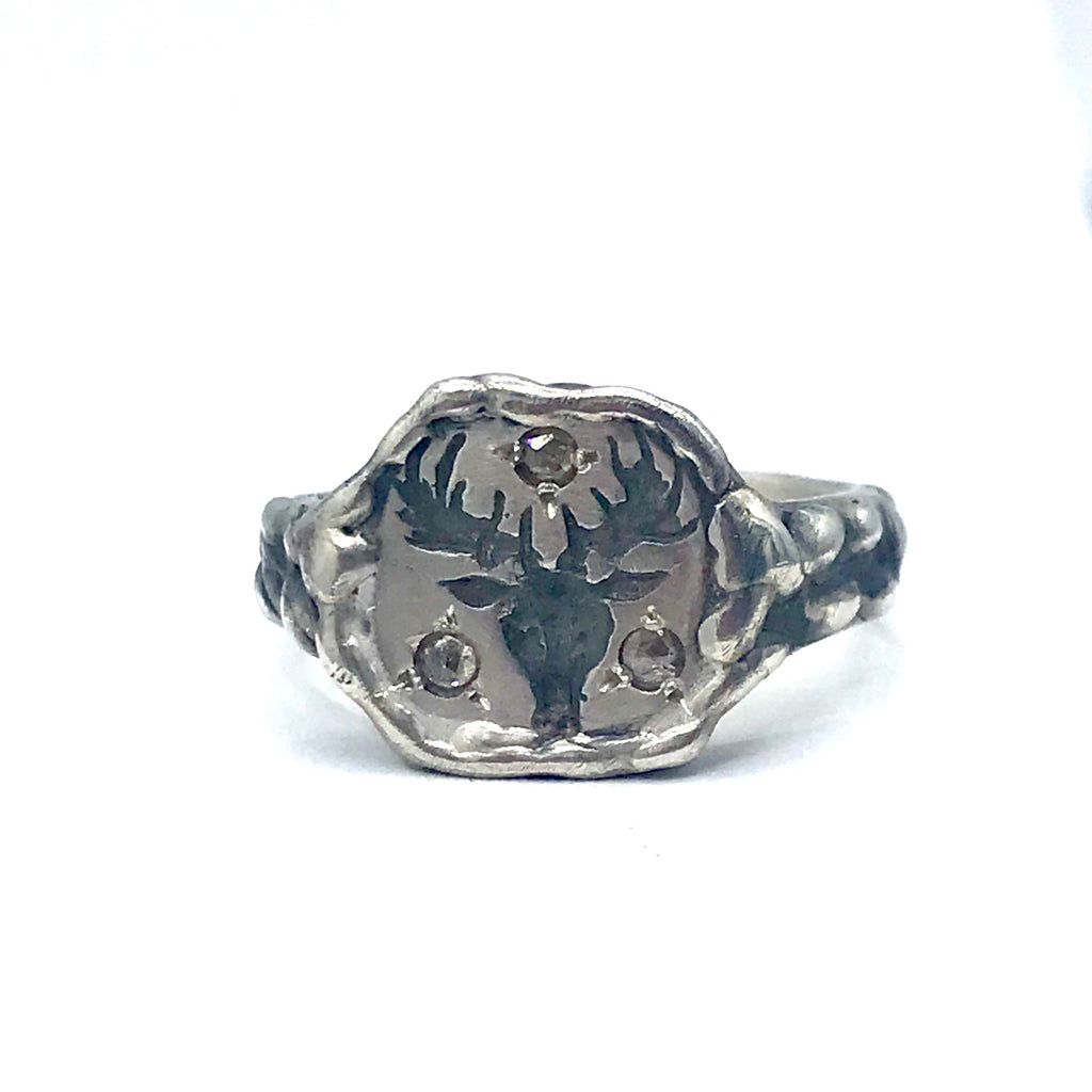 Stag Coin Signet Ring with Diamonds