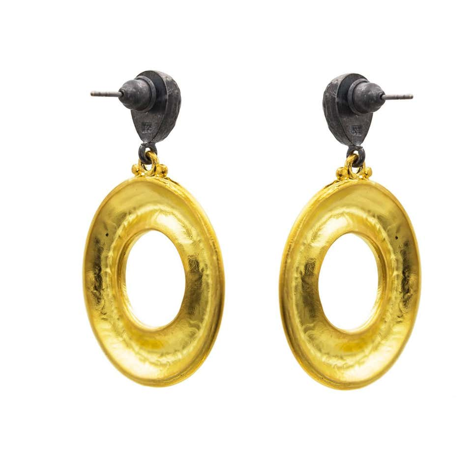 Two-Toned Oxidized Sterling Silver and Thick Gold Vermeil Drop Hoop Earrings