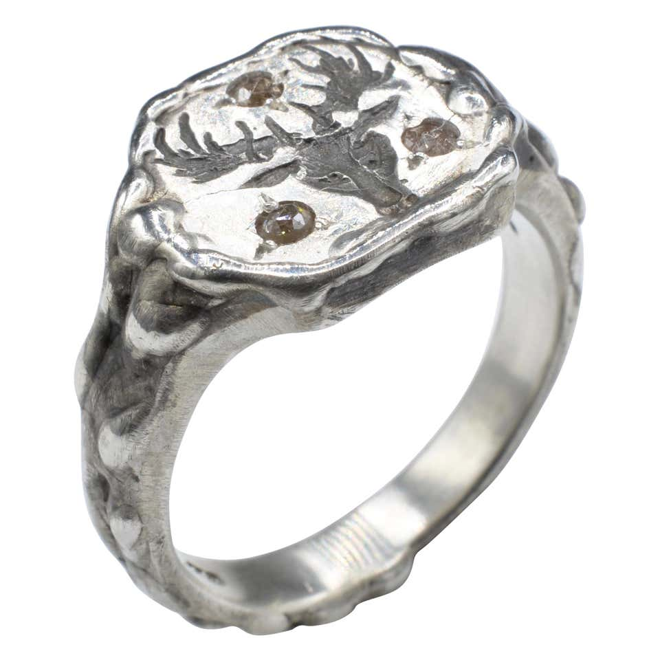 Signet Ring Deer Head Diamond Brown Rose Cut Sterling Silver Ring