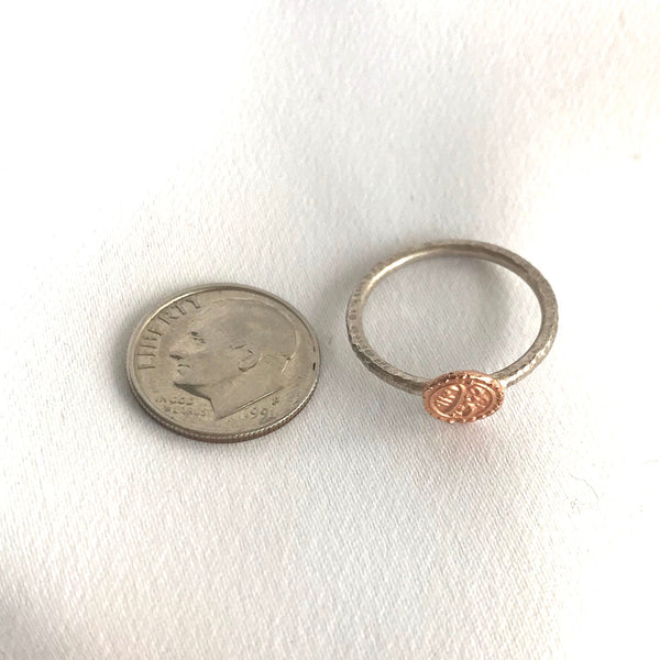 Rose Gold Wedding Coin Ring w/ Sterling Silver Band