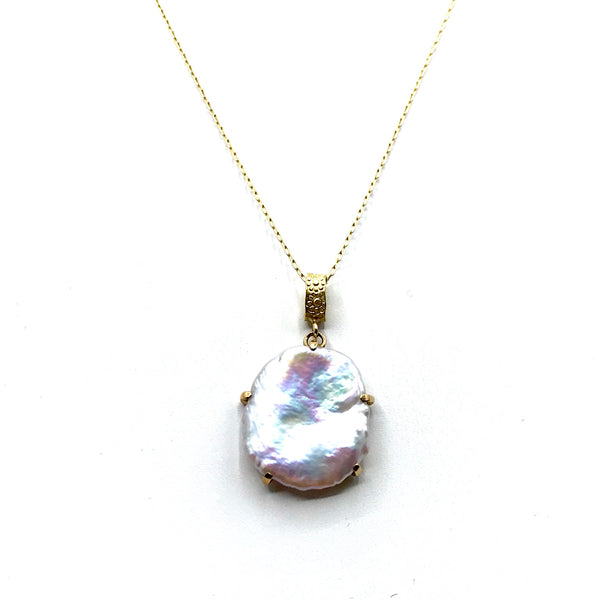 Pearl pendant in 18k yellow gold