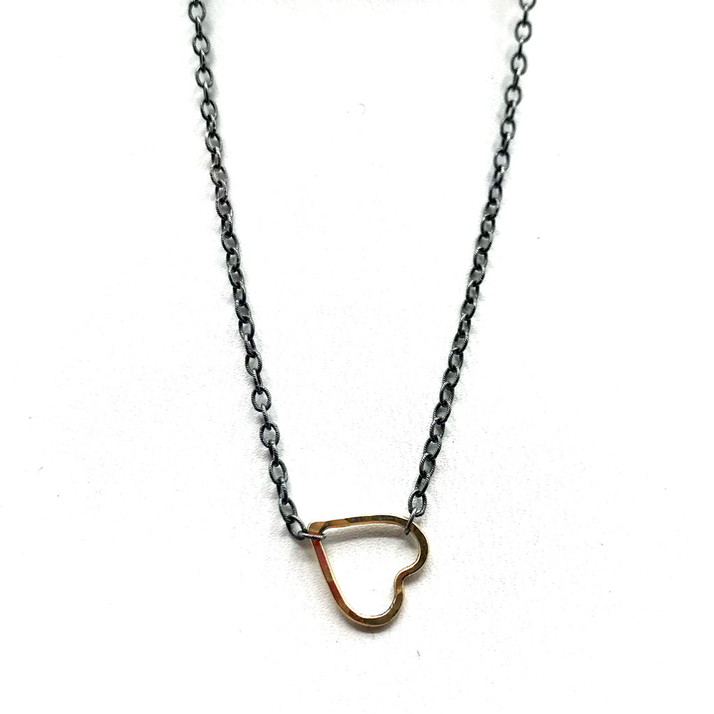Gold Heart Necklace with Black Silver Chain