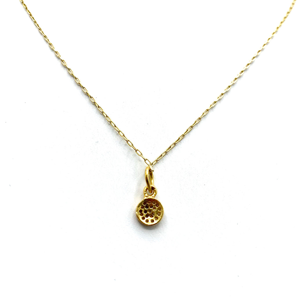 Gold and Diamond Pave Disc Pendant Necklace