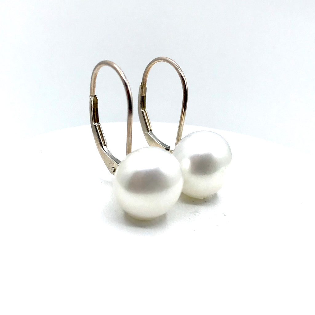 White Pearl in Sterling Silver Earrings