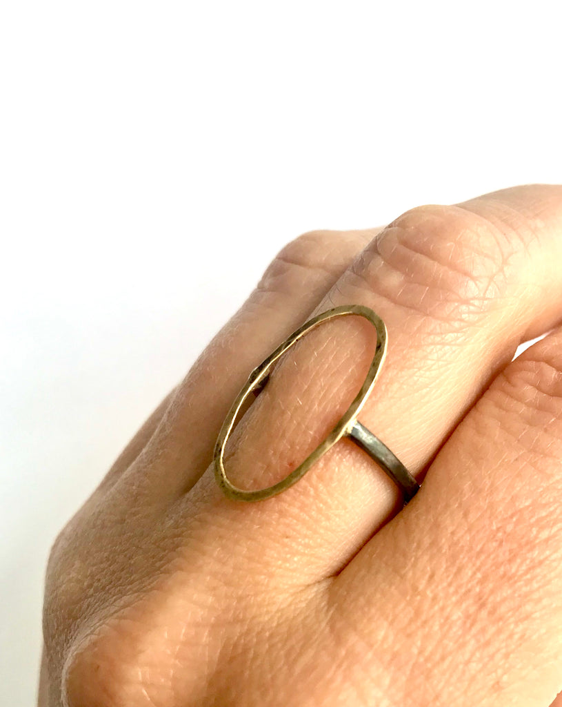 Gold Hammered 0 Ring with Oxidized Sterling Silver Band