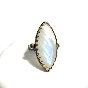 Large Marquise Moonstone Ring in Oxidized Silver