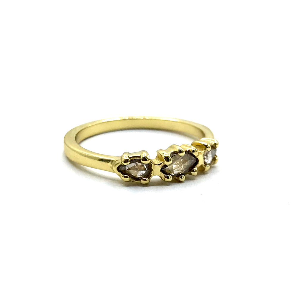 14 karat Rose Cut Champagne Diamond Ring