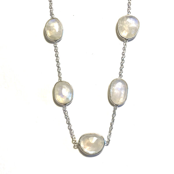 Long Moonstone and Sterling Silver Chain Necklace