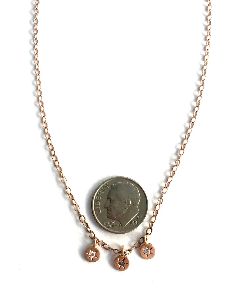 14 Karat Triple Rose Gold disks with Diamonds and Stars Necklace