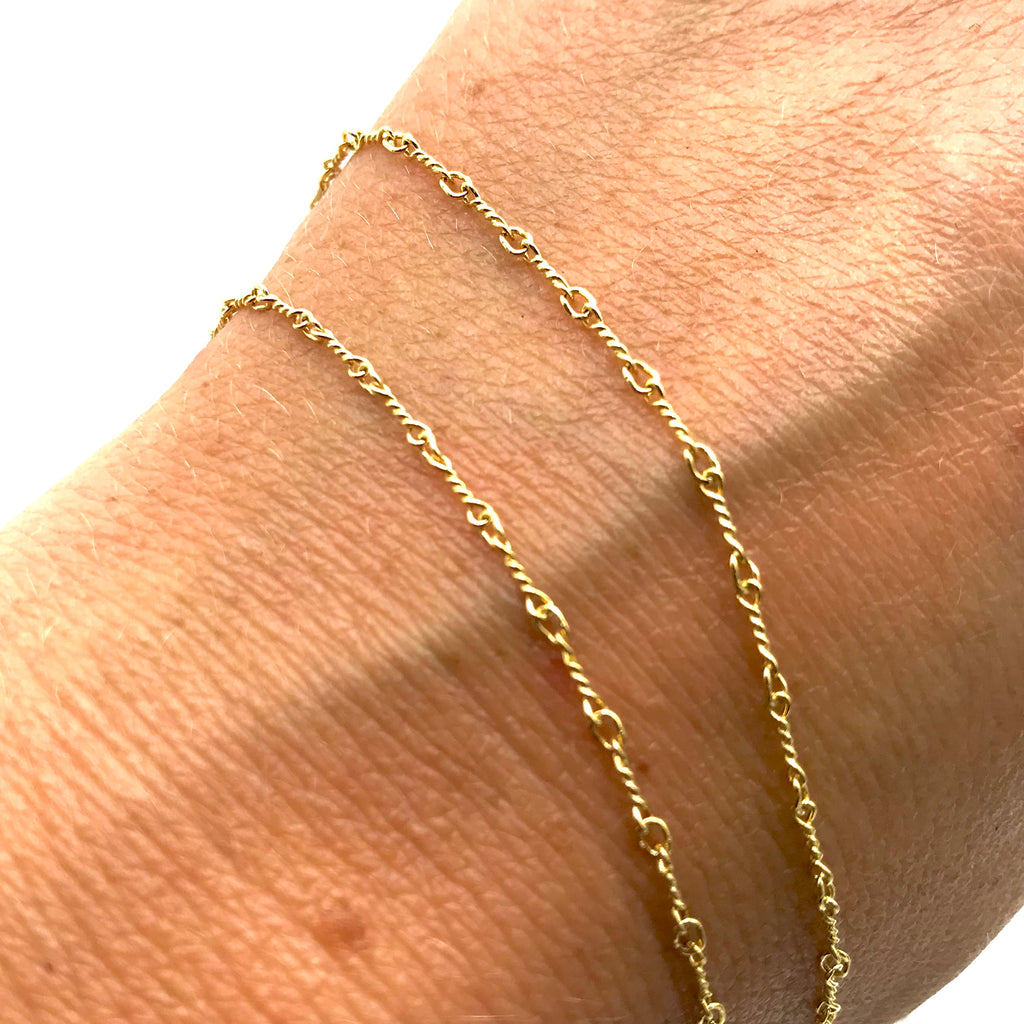"Italian Twisted Link 14 Karat Yellow Gold Chain Necklace 16"" -also available in 18"""