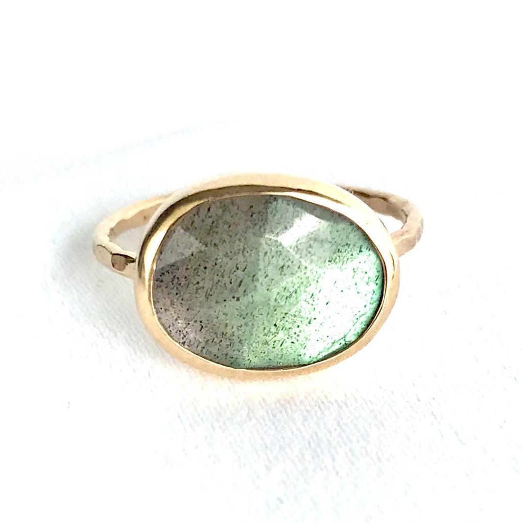Speckled Oval Labradorite Ring Set In 14K Yellow Gold Ring