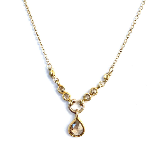Champagne Pear Diamond and Gold Necklace