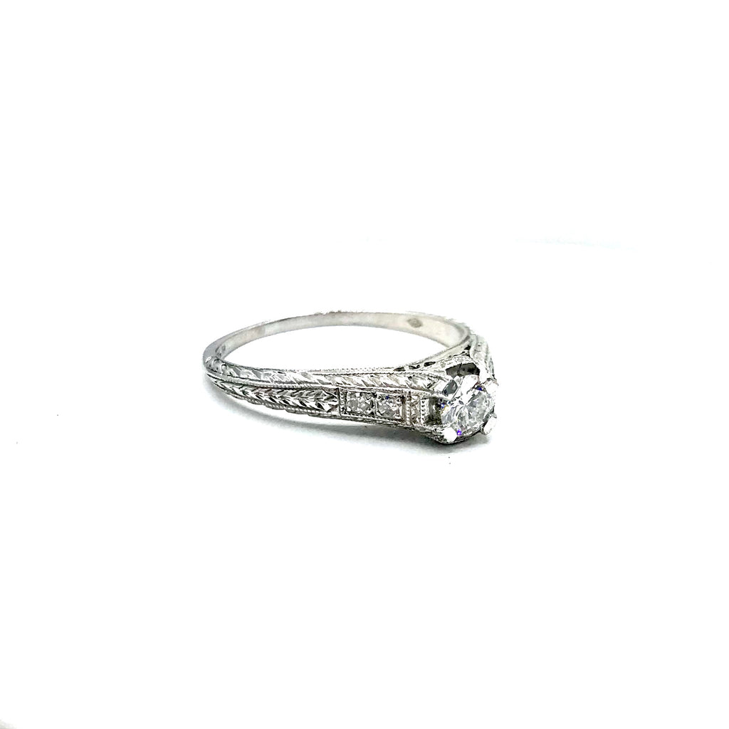 Diamond and Platinum Art Deco Estate Wedding Ring