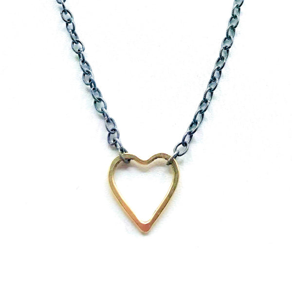 14 Karat Gold Heart Necklace with Oxidized Silver Chain