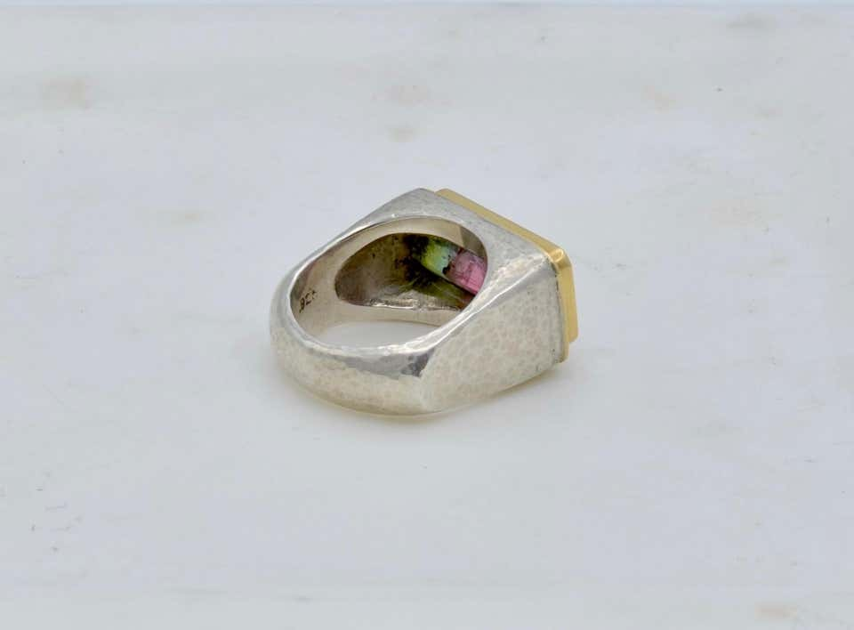 Bi Color Tourmaline Set in 18 Carat and Sterling Silver Ring