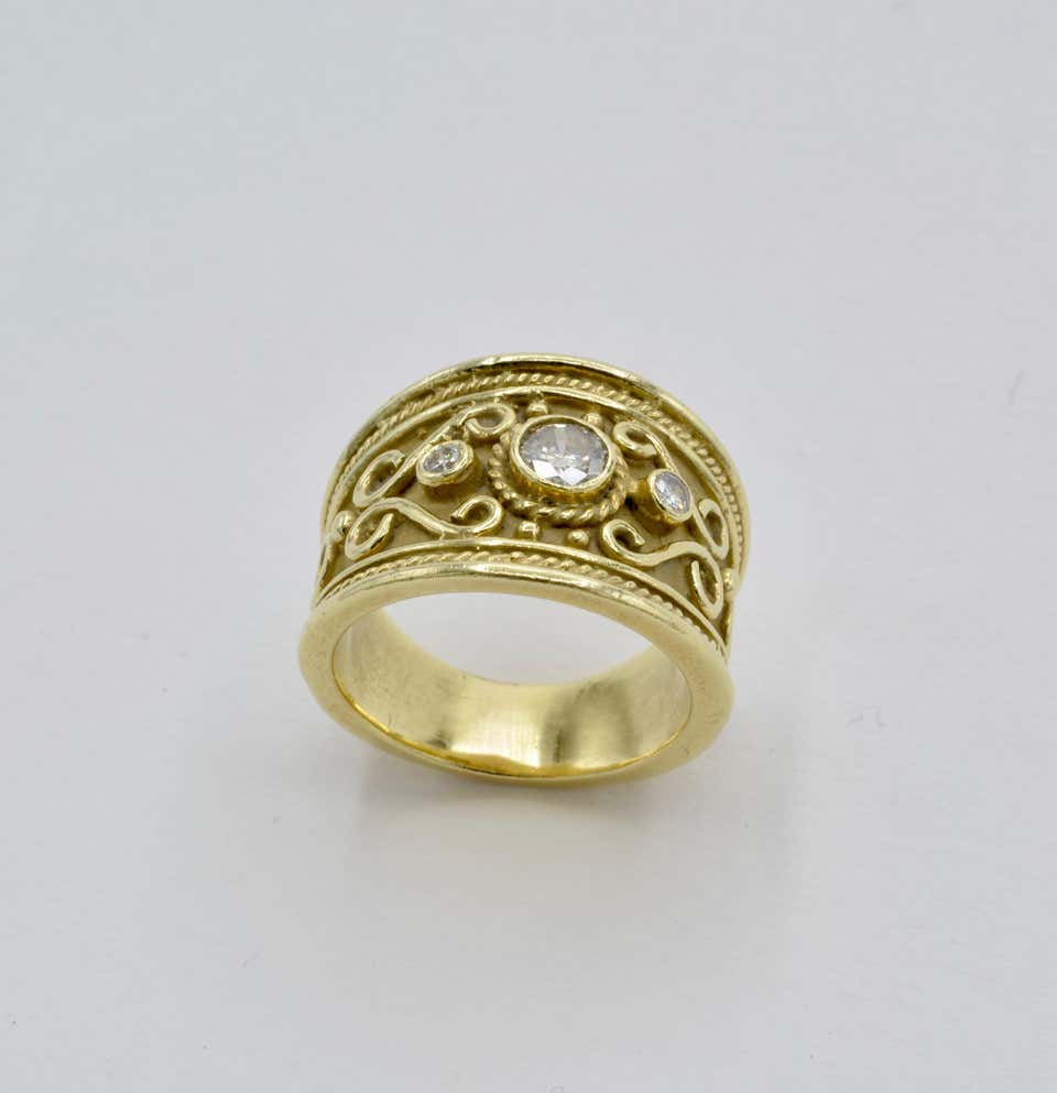 Etruscan Wide Yellow Gold Band Ring with Diamonds and Spirals
