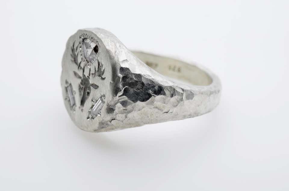Signet Silver Ring Dear Head Engraved Trillion and Baguette Diamond