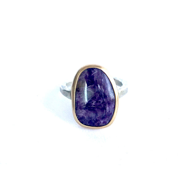 Large Amethyst Matrix Ring in Gold Bezel and Hammered Silver Band