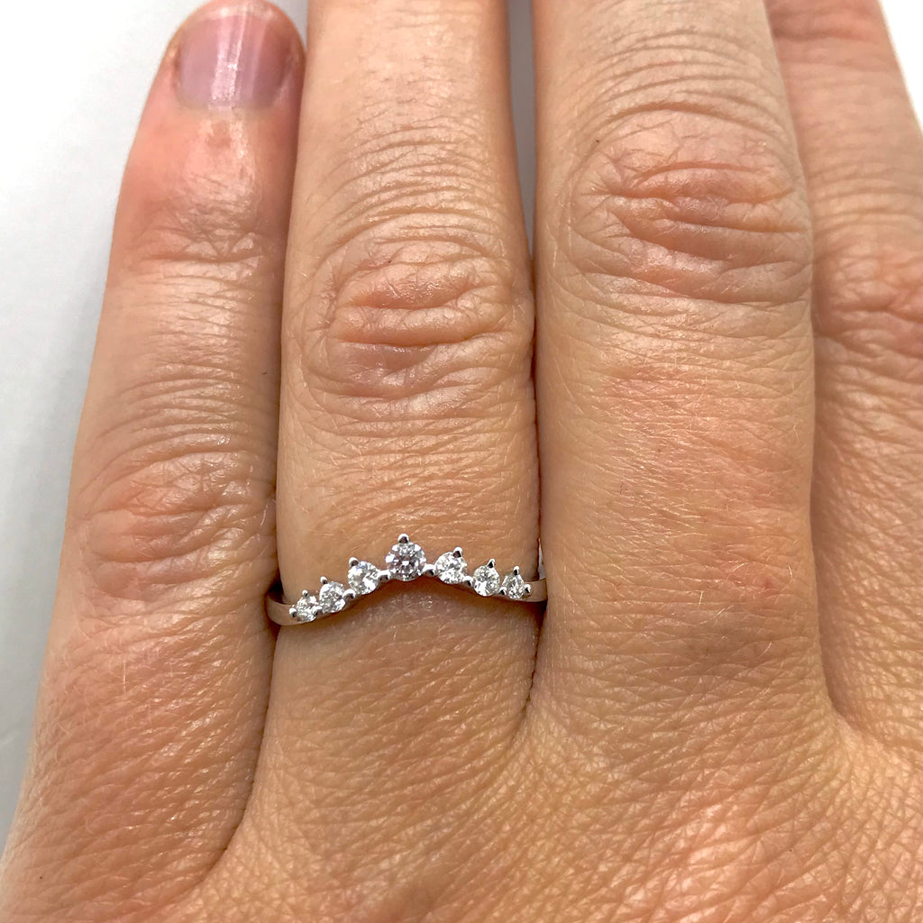 14K White Gold Diamond Soft Arch Band