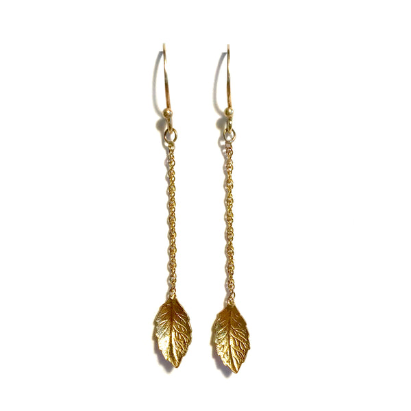 14 Karat Yellow Gold Single Leaf Earrings