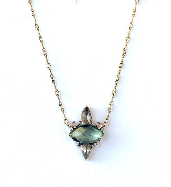 Moss Aqua Marquise with Champagne Diamonds Necklace