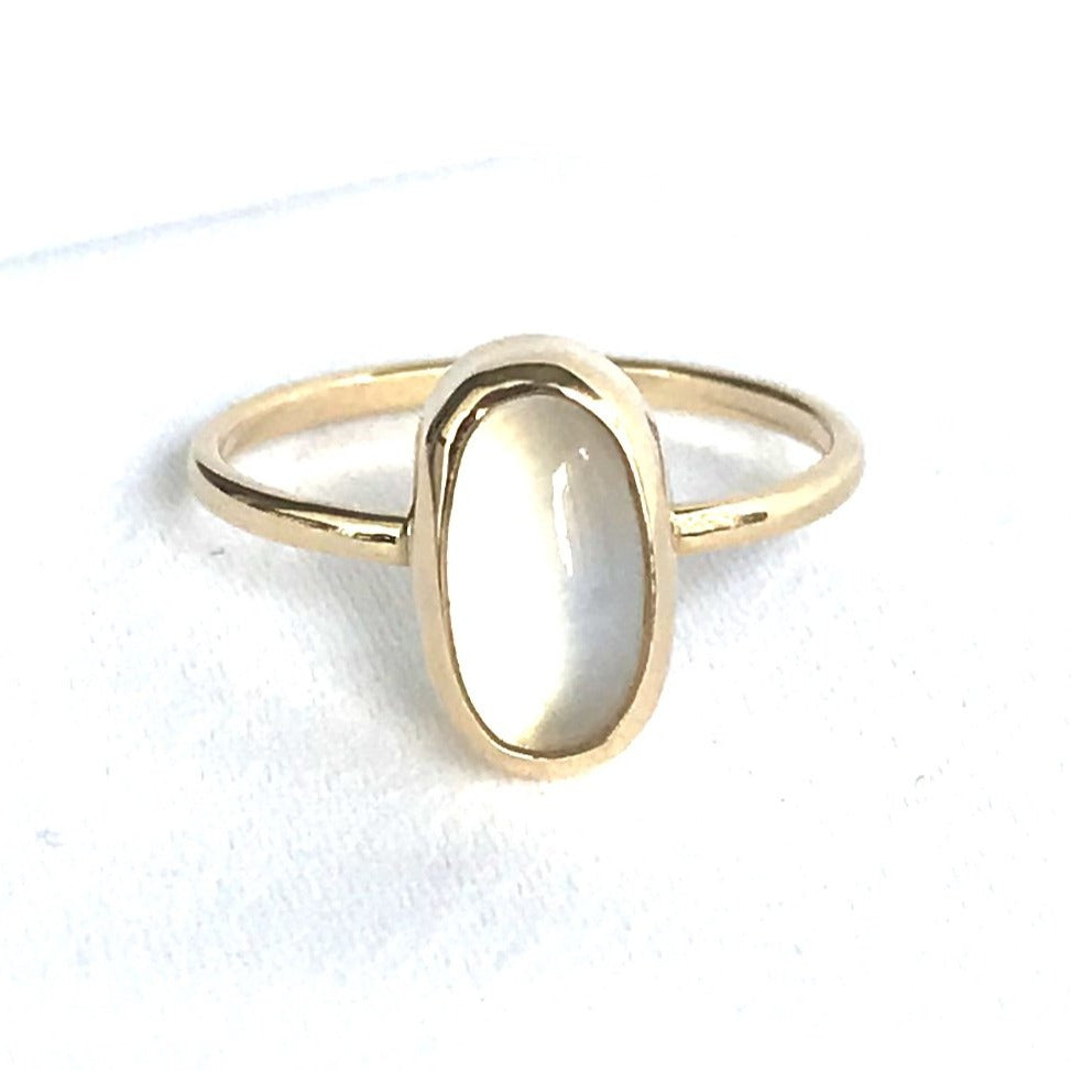 Pristine Oval Moonstone Ring in 14K Yellow Gold