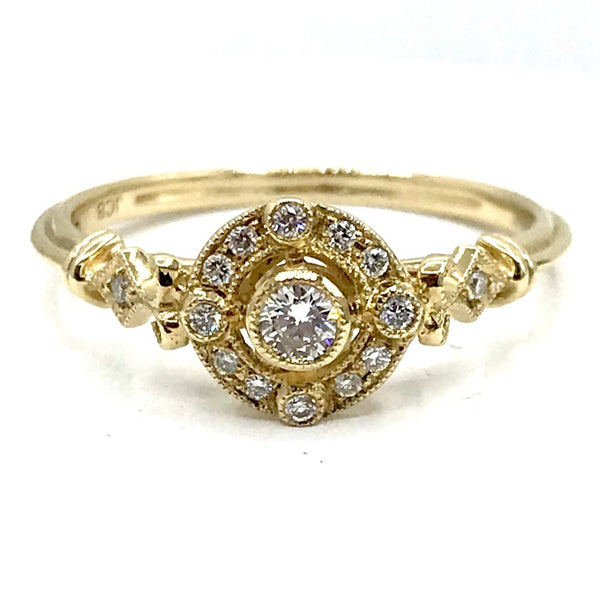 Orbit Diamond and 14 Karat Yellow Gold Wedding Ring