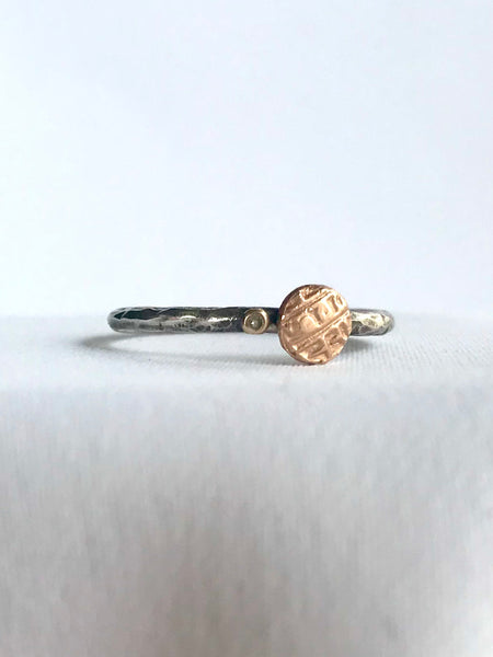 Rose Gold Coin and Diamond Ring