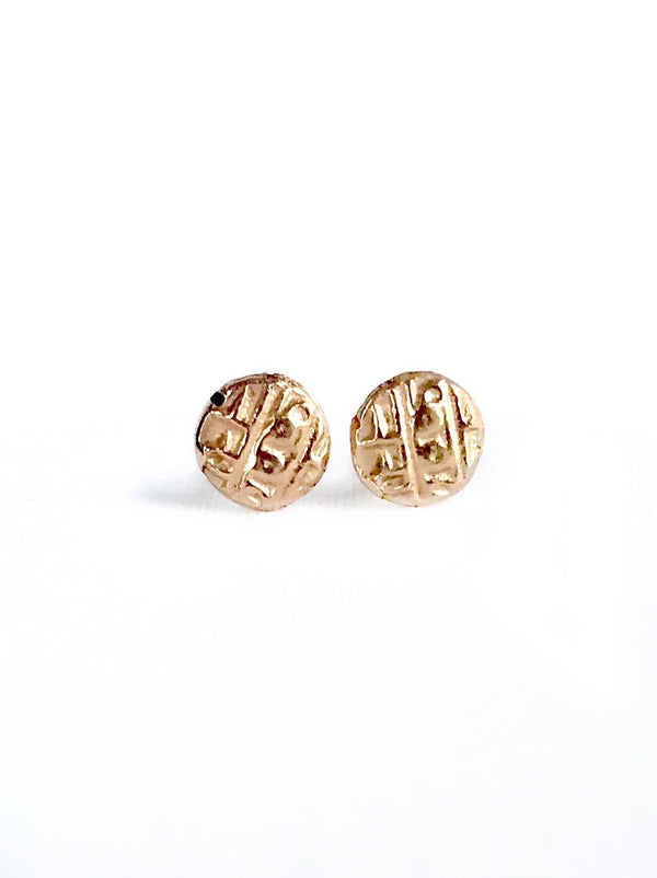 14K Rose Gold Ancient Coin Studs